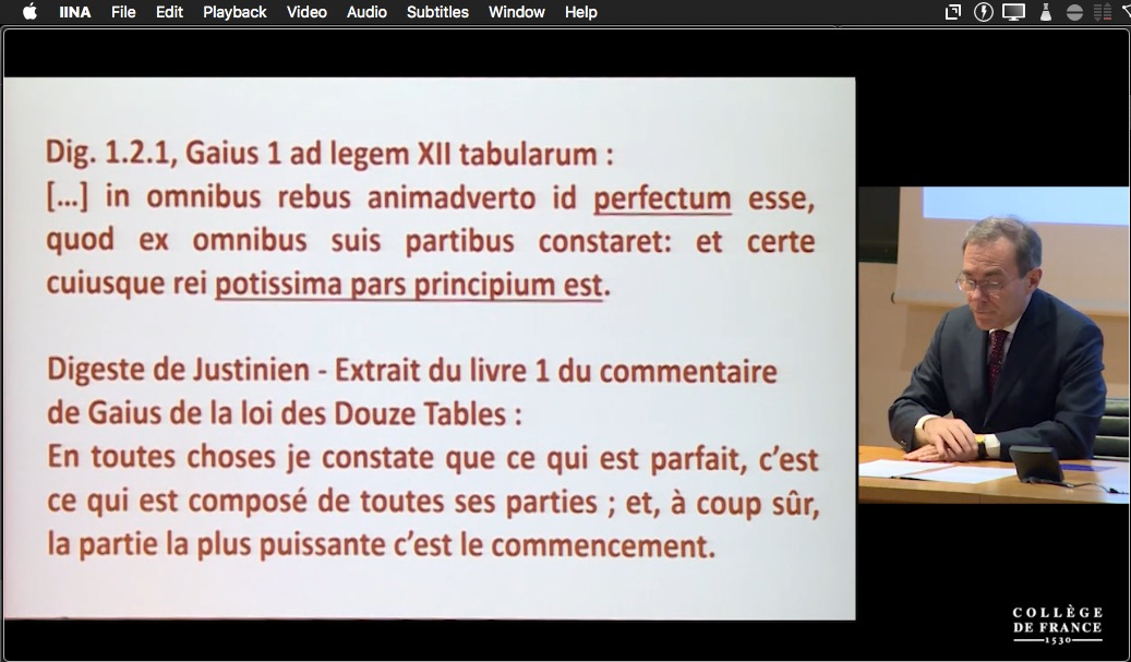 "A slide from Dario Mantovani's lecture""Usages juridiques du passé (dans la pensée des juristes romains)"". Text is printed in red on a white background."
