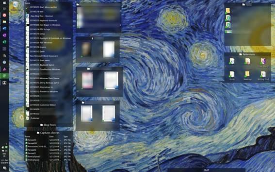 Showing my desktop, full of folders reorganised in Portals, by Fences