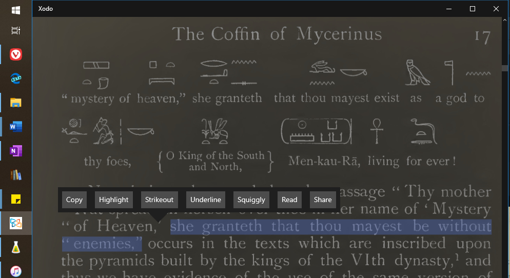 A close up view using Night Mode (text being light grey of ver very dark background) and showing the annotation tools over a text selection.