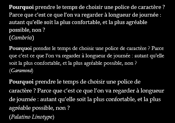 The same sample text, in French, using Cambria, garamond, and Palatynio Linotype fonts