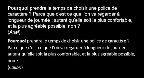 The same sample text, in French, using Arial and Calibri fonts.