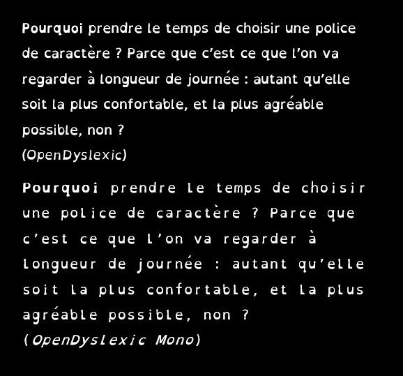 The same sample text, in French, using OpenDyslexic and OpenDyslexic Mono fonts.